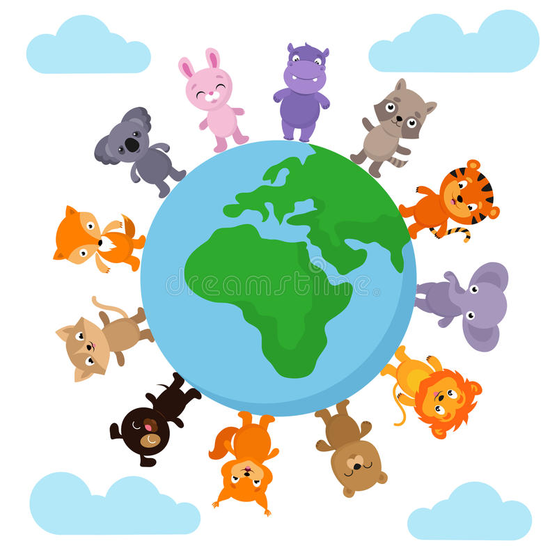 Cute and funny baby animals walking around Earth globe vector illustration royalty free illustration
