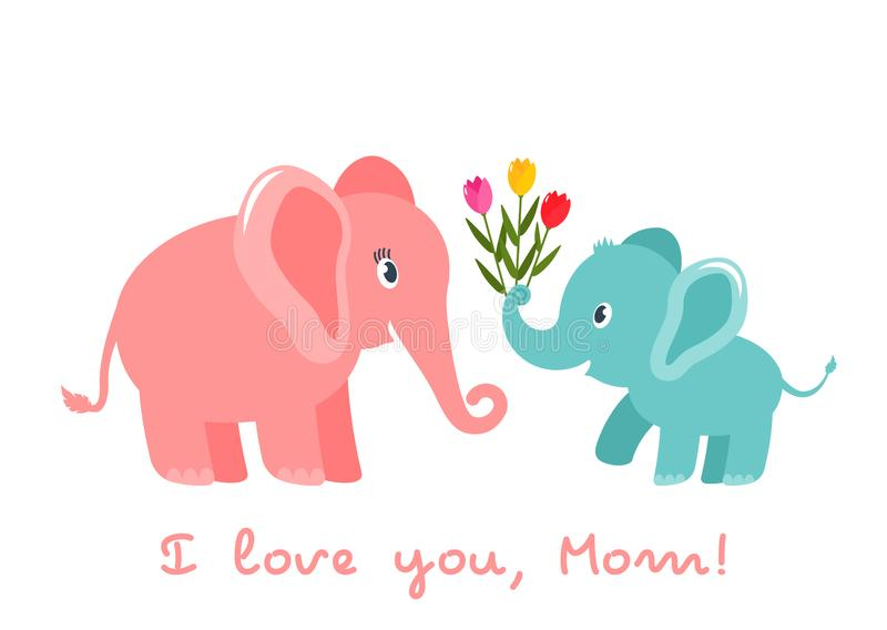 Cute funny baby elephant gives a heart bouquet of tulips flowers. greeting card. Mother`s Day holiday concept. flat vector stock illustration