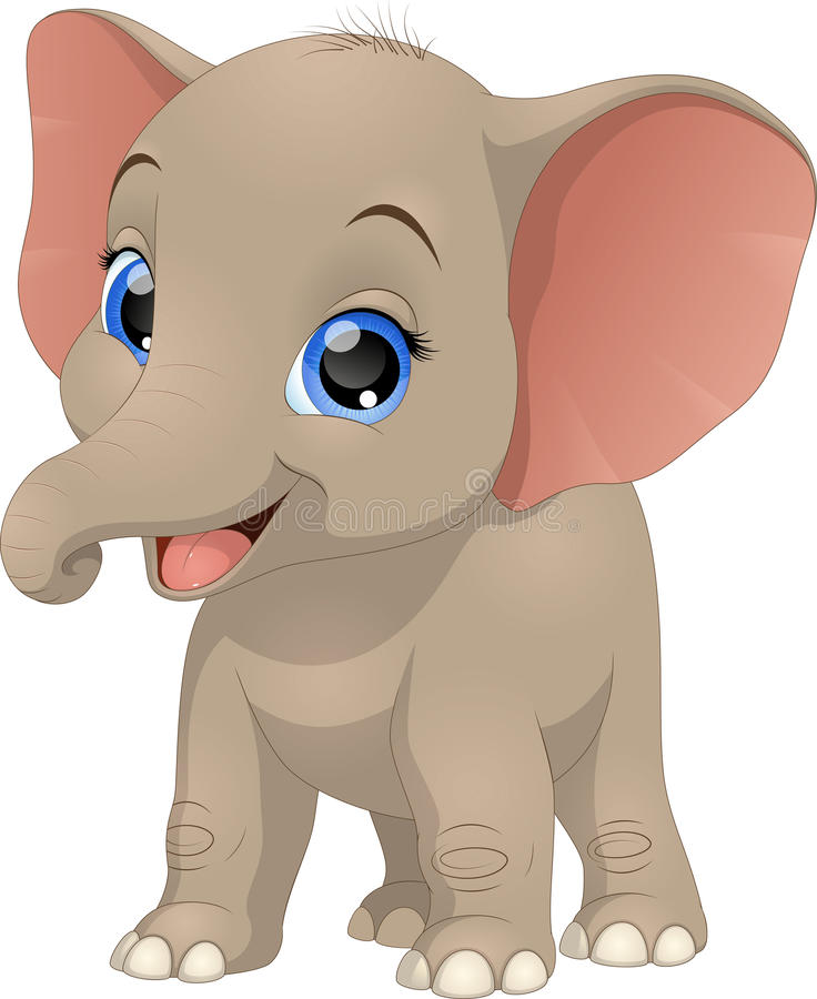 Cute funny baby elephant royalty free illustration