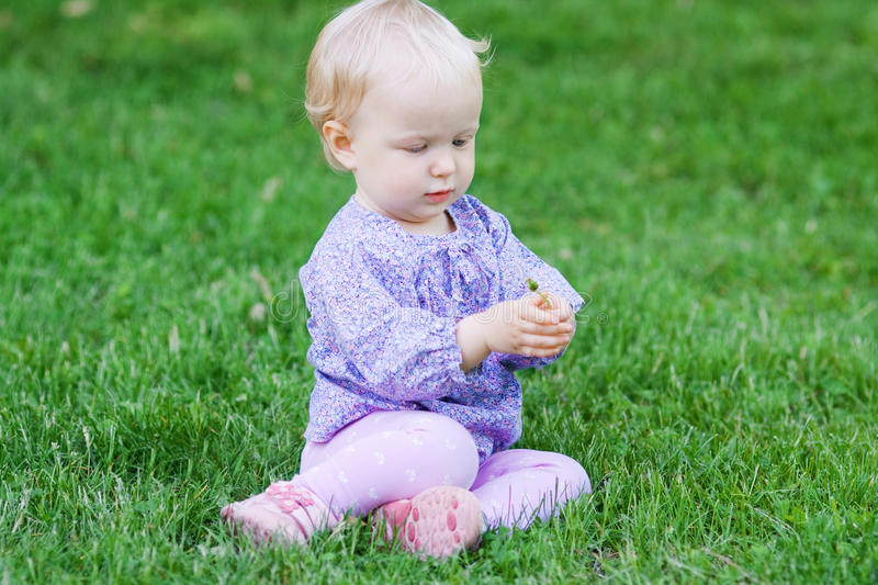 Cute funny baby girl sitting on grass on a meadow. Cute funny baby girl in colorful clothing sitting on grass on a meadow holding a flower royalty free stock photography