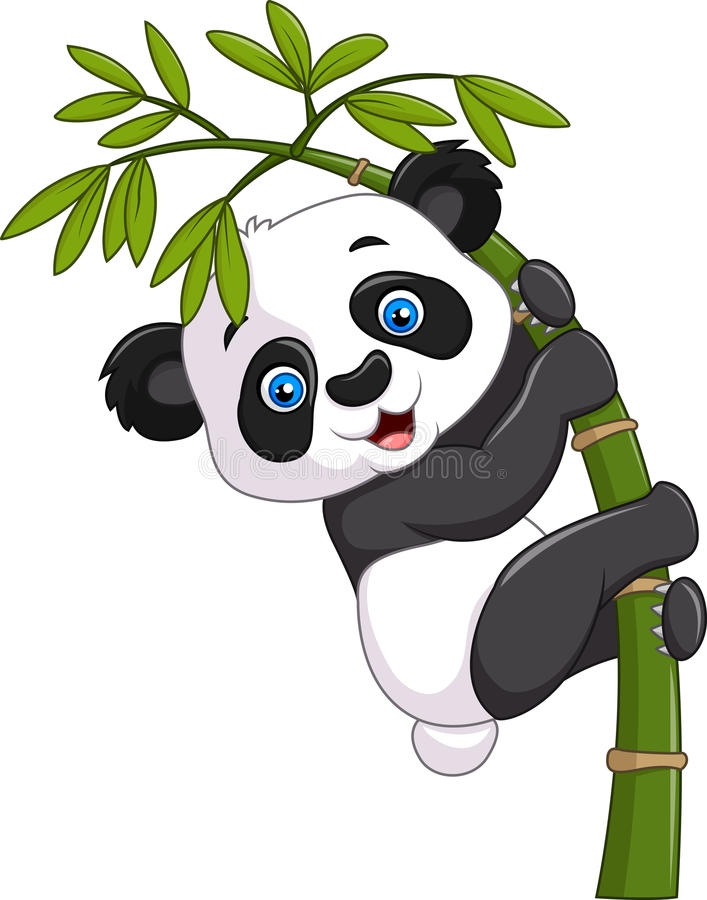 Cute funny baby panda hanging on a bamboo tree stock illustration