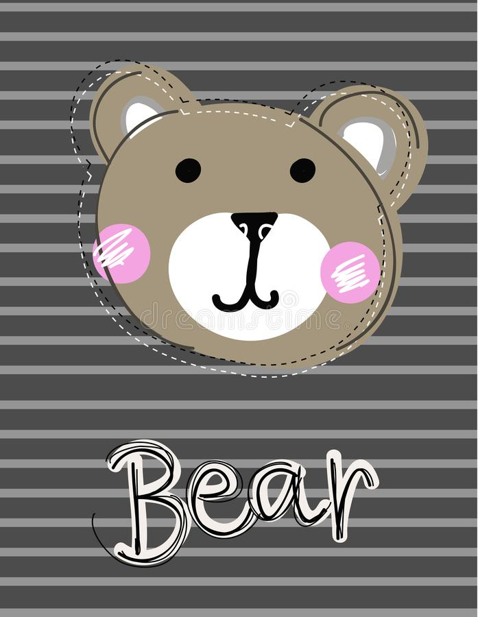 Cute funny bear face patch, applique for decoration kids clothing. Cartoon vector Illustration on striped background vector illustration