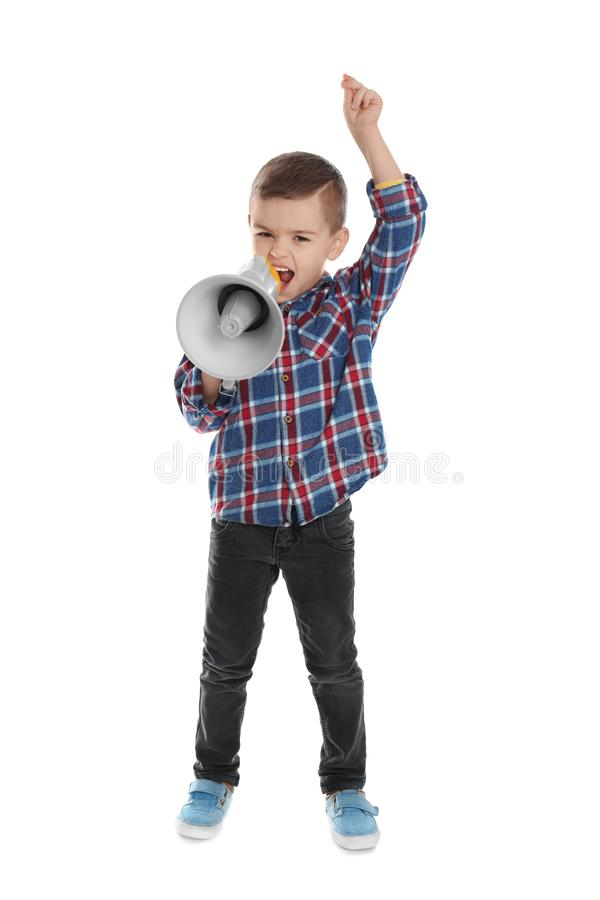 Cute funny boy with megaphone. On white background royalty free stock photo