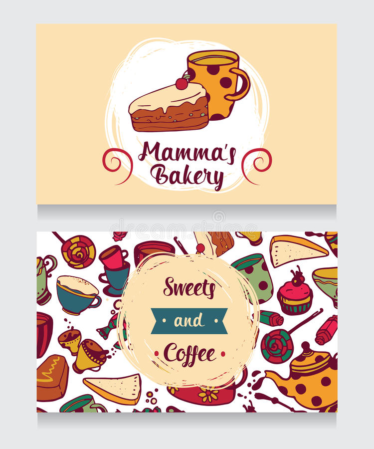 Cute Funny Business Card For Bakery Stock Vector - Illustration of ...
