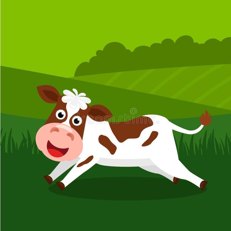 A cute, funny calf runs across a green lawn. flat vector. Illustration vector illustration