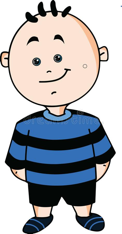 Cute funny Cartoon boy wearing blue and black t shirt. Cute cartoon boy with smile and funny hairnvector illustration isolated on white background stock illustration