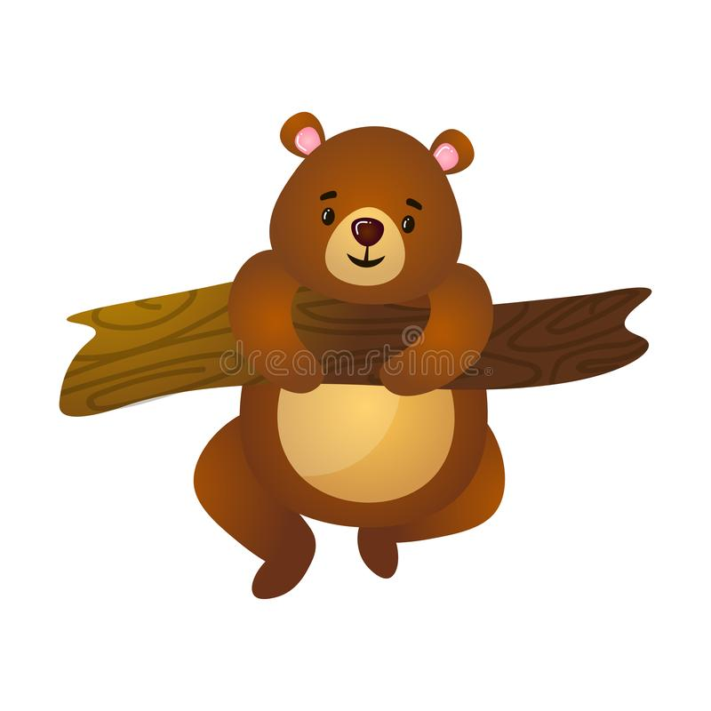 Cute funny cartoon brown grizzly teddy bear climbing on branch of tree royalty free illustration