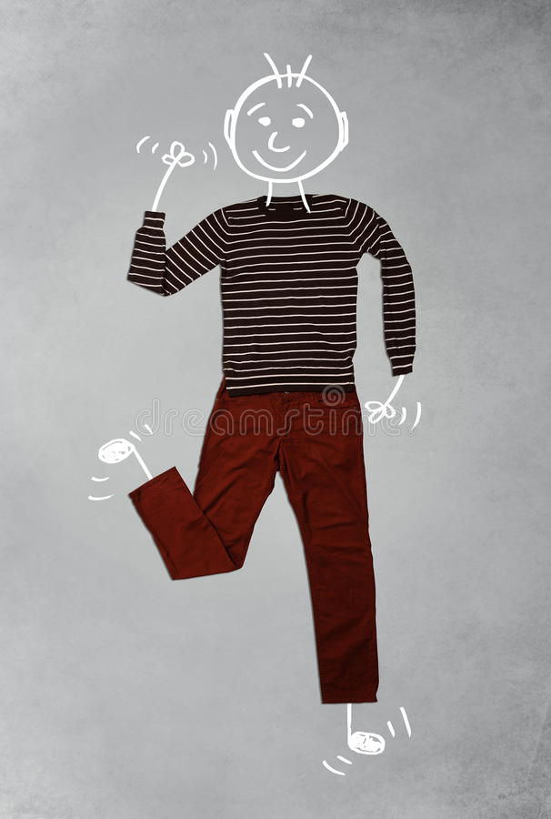 Cute funny cartoon character in casual clothes. Cute funny hand drawn cartoon character in casual clothes royalty free stock photo