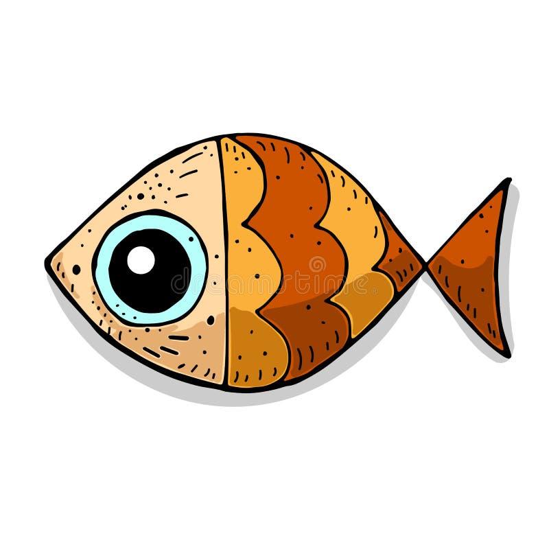 Cute funny cartoon colorful sea fish. marine theme. vector illustration. royalty free illustration