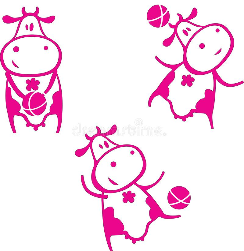 Cute funny cartoon cow playing with a ball royalty free illustration