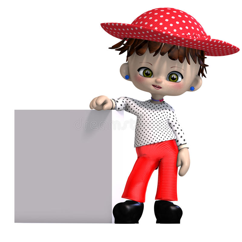 Cute and funny cartoon doll with hat. 3D rendering with clipping path and shadow over white royalty free illustration