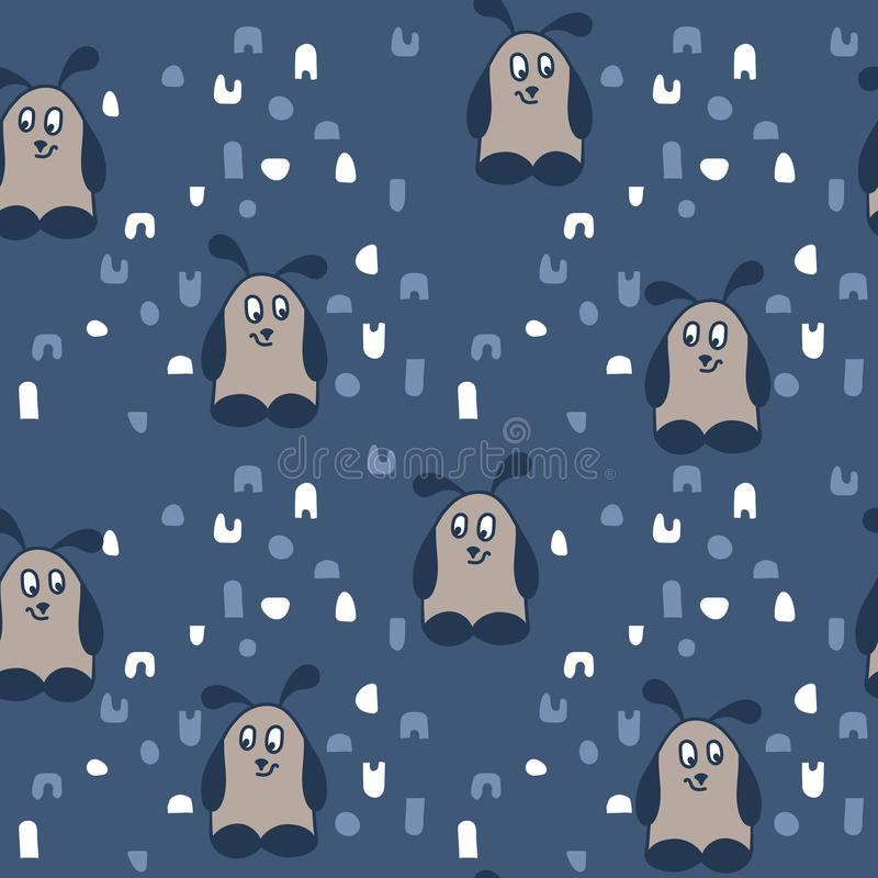 Cute funny cartoon monsters. Hand drawn seamless pattern on blue background royalty free illustration