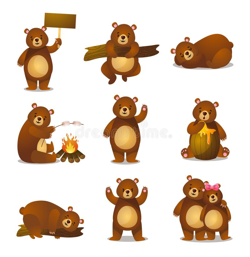 Cute funny cartoon set friendly bear in different activities stock illustration