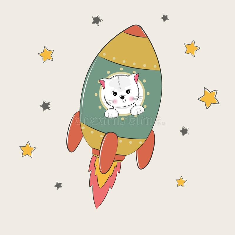 Cute funny cat astronaut flies into space. royalty free illustration