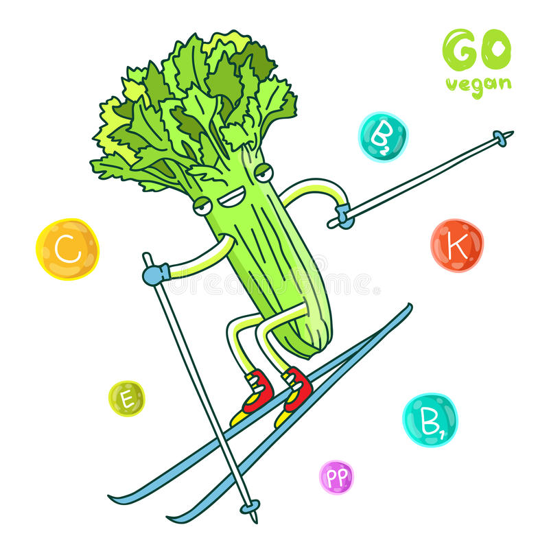 Cute and funny celery goes skiing. Vector illustration on white background. Vitamins royalty free illustration