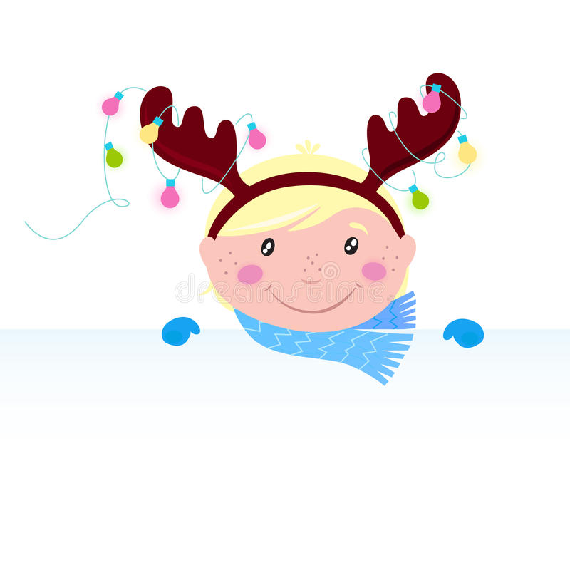Download Cute Funny Child In Reindeer Costume With Banner Stock Vector - Illustration: 17028729