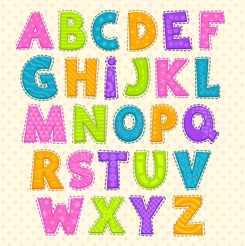 Free Cute Funny Childish Alphabet Stock Photography - 56726682