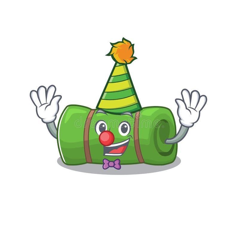 Cute and Funny Clown camping matScroll cartoon-mascot-stijl vector illustratie