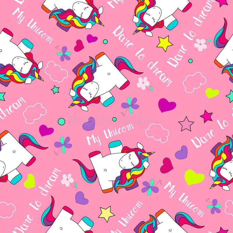 Cute and funny, colorful rainbow hand drawn dreaming unicorn seamless pattern vector vector illustration