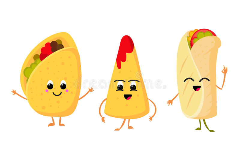 Cute funny corn taco, burrito and nachos with smile in face. fresh lunch mexican food vector set royalty free illustration