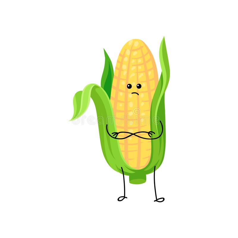 Cute funny corncob with yellow corns and green leaves cartoon character vector Illustration stock illustration