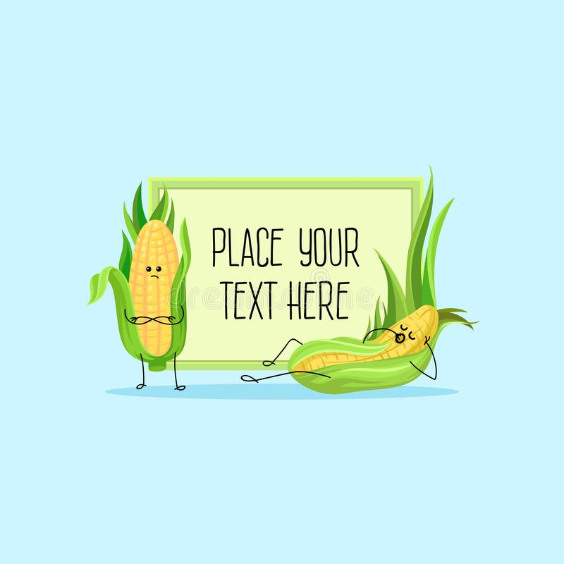 Cute funny corncobs cartoon characters hoding banner with space for your text vector Illustration vector illustration