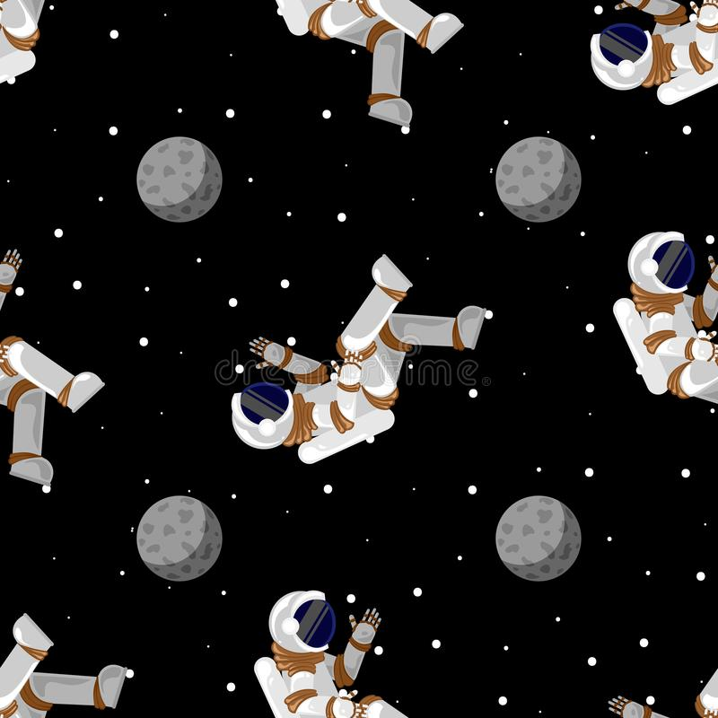 Cute funny cosmonaut astronaut spaceman characters exploring outer space with moon. Seamless cartoon pattern for wallpaper, stock illustration