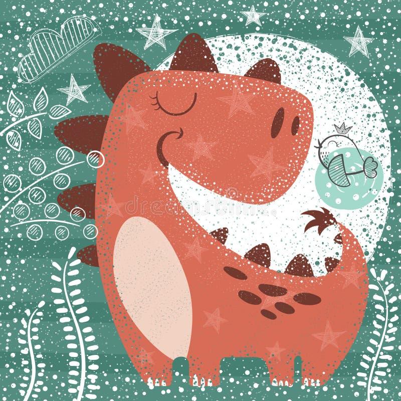 Cute funny dino - textured illustration royalty free illustration