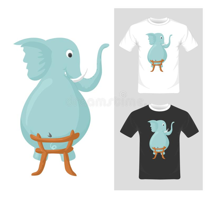 Cute funny elephant vector. T-shirt graphic design stock illustration