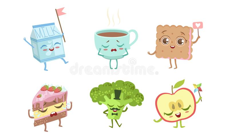 Cute Funny Food Characters set, Milk Packaging, Cup of Tea, Cookie, Cake, Broccoli, Apple Vector Illustration lizenzfreie abbildung