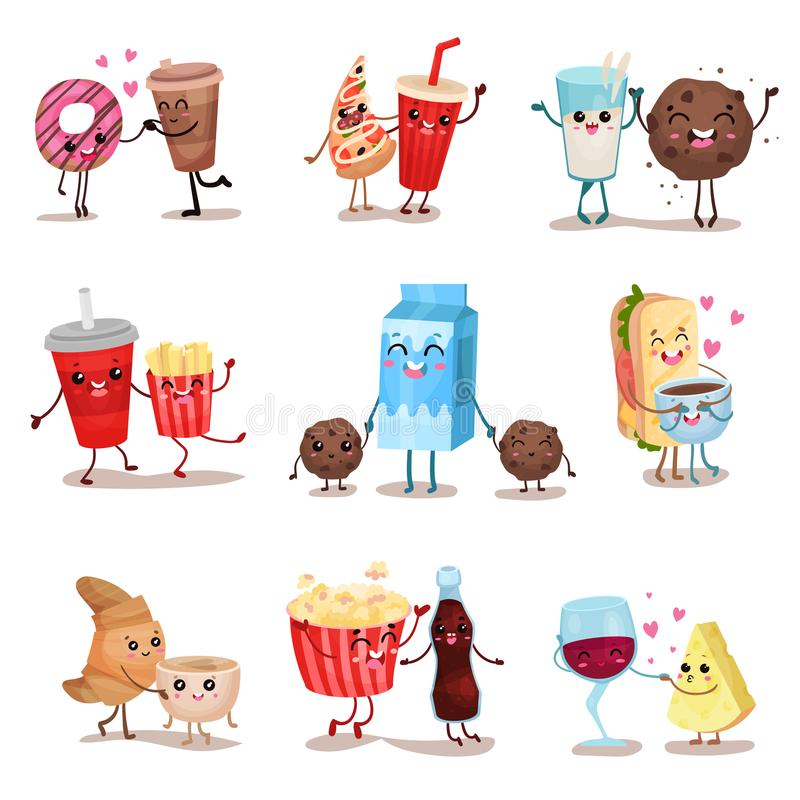 Cute funny food and drink characters set, best friends, funny fast food menu vector Illustrations royalty free illustration