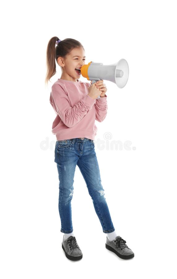 Cute funny girl with megaphone. On white background stock photo
