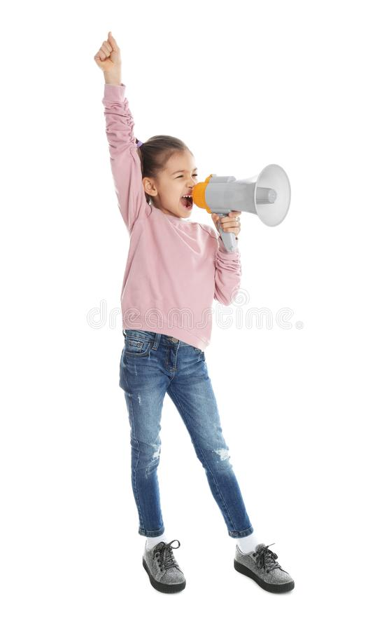Cute funny girl with megaphone. On white background stock photography