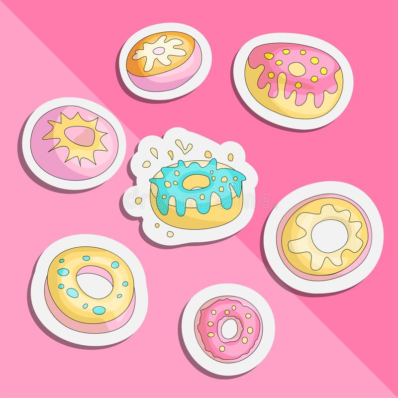 Cute funny Girl teenager colored icon set sticker donuts, fashion cute teen and princess icons. Magic fun cute patch stock illustration