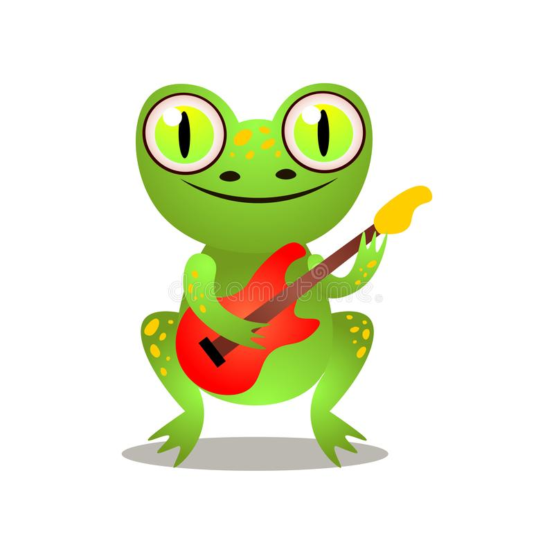 Cute funny green frog is playing at electric guitar vector illustration