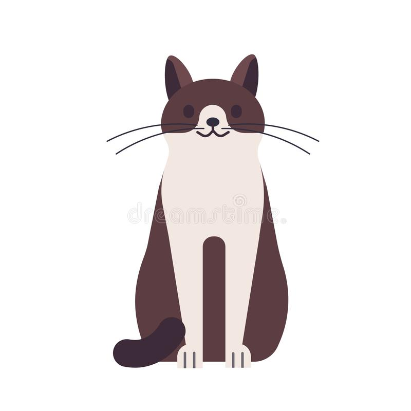 Cute funny happy cat isolated on white background. Domestic animal or pet. Adorable sitting kitty or pussycat, pretty vector illustration