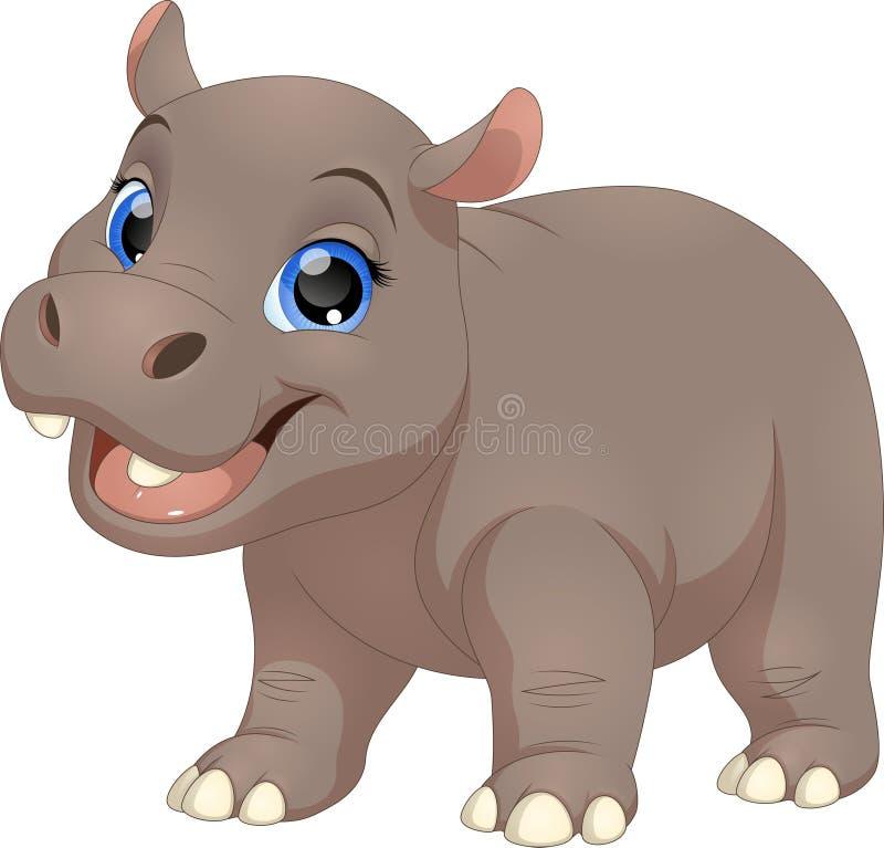 Cute funny hippo stock illustration