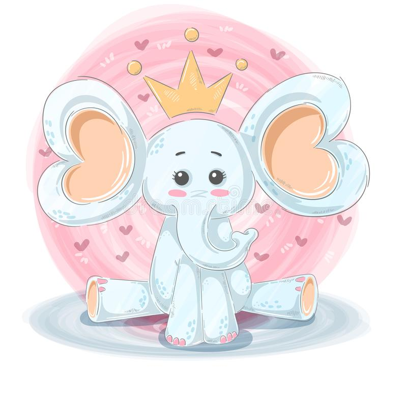 Cute, funny illustration - cartoon elephant characters. stock illustration