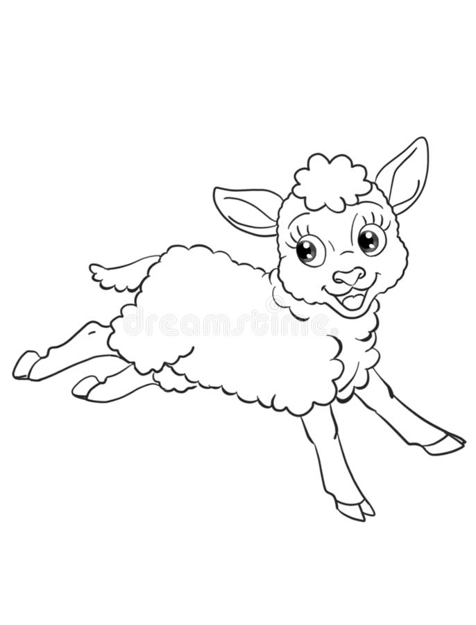 Cute funny lamb running isolated coloring page illustration stock illustration