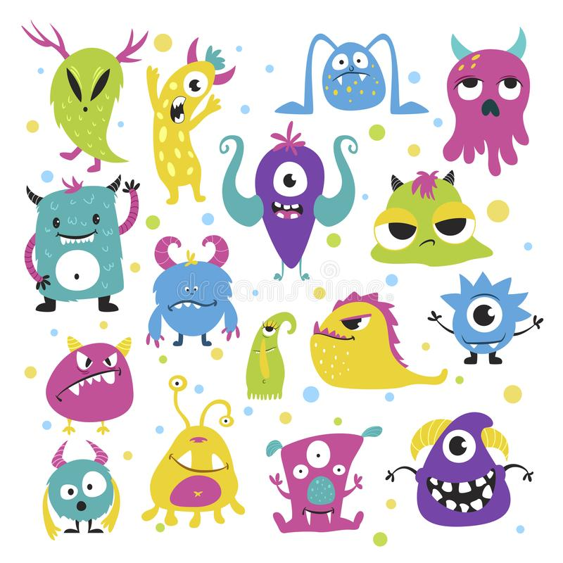 Cute funny little monsters in bright colors vector illustration