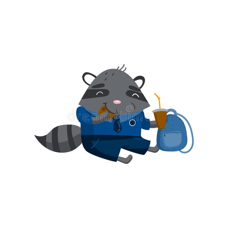 Cute funny little raccoon student sitting on the floor and eating, pupil animal in school uniform, back to school royalty free illustration