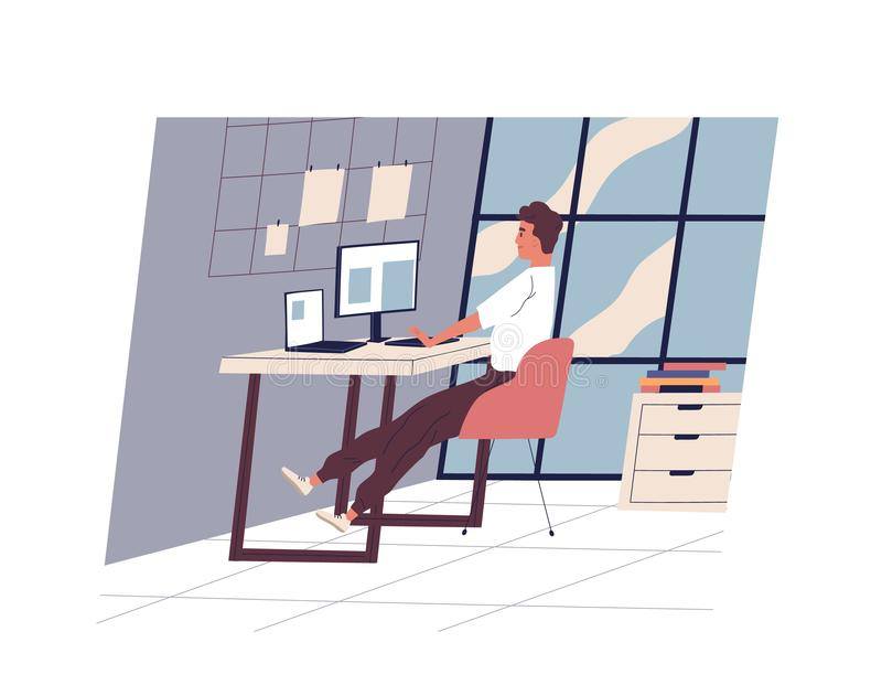Cute funny man sitting at desk and working on computer at modern office. Young professional or male employee at stock illustration