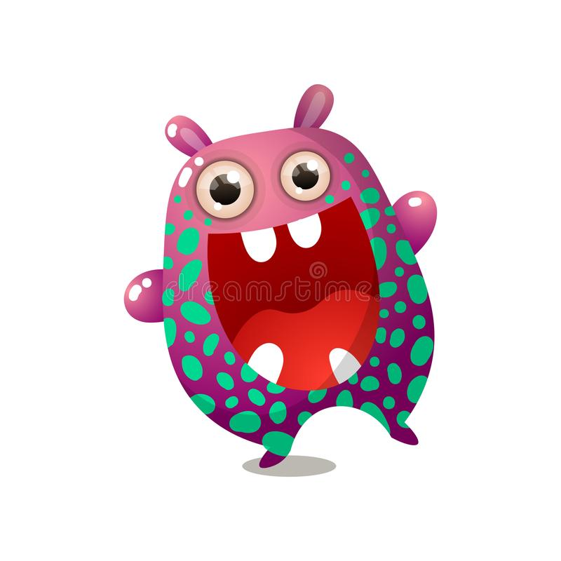Cute funny monster pink red color with big mouth vector illustration