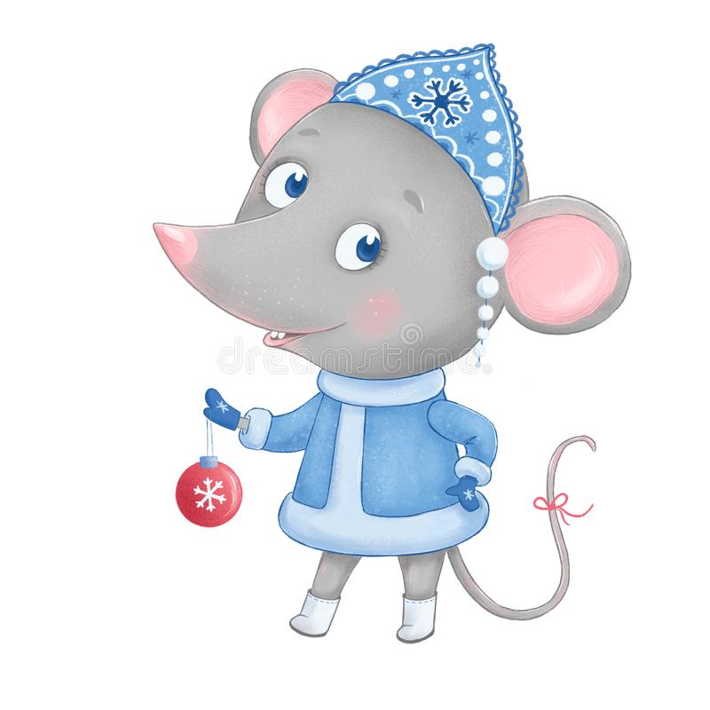 Cute and funny mouse - the snow maiden royalty free stock images