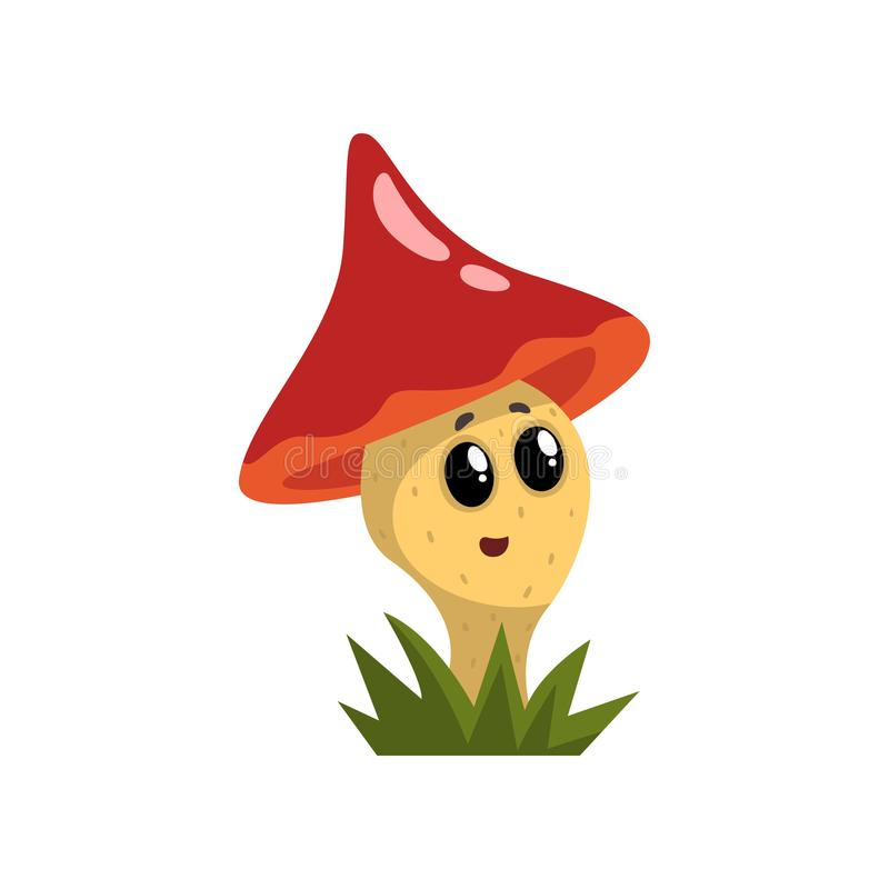Free Cute Funny Mushroom Character With Red Cap And Funny Face Vector Illustration On A White Background Royalty Free Stock Photos - 114198838