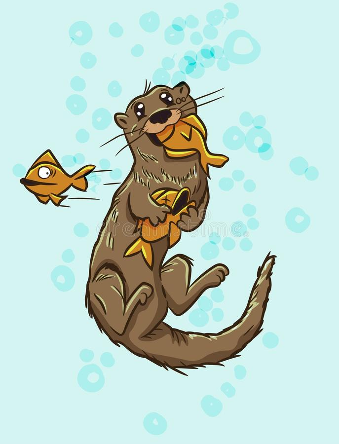 Cute funny otter underwater eating fish. Mustelidae animal hunting for prey food. Aquatic mammal swimming with a big smile on its. Face. Wet brown rodent royalty free illustration