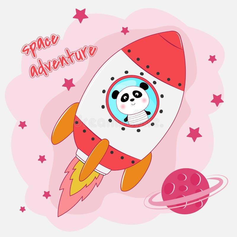 Cute funny panda astronaut flying on a rocket. royalty free illustration