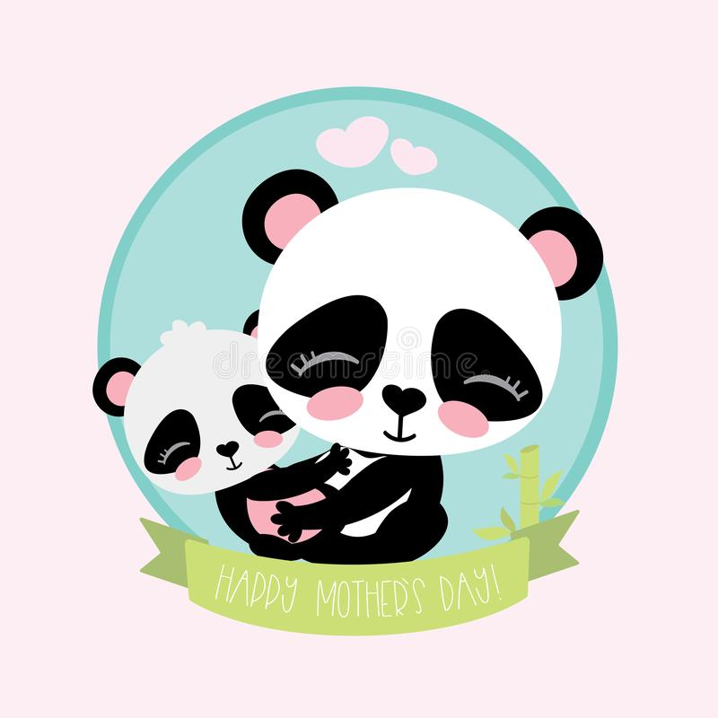 Cute and funny panda with little baby panda royalty free illustration