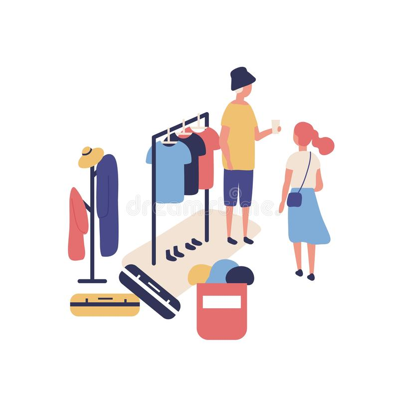 Cute funny people selling and buying stylish clothes at outdoor flea market, summer garage sale. Buyer, seller and royalty free illustration