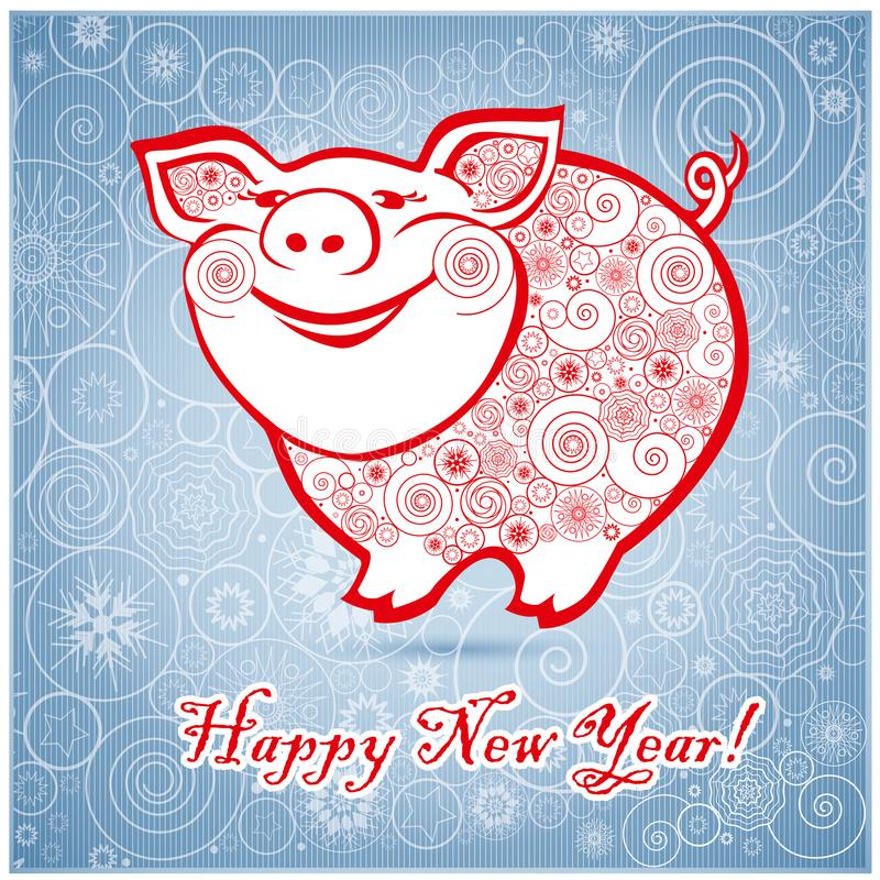 Cute funny pig on blu background 1 stock images